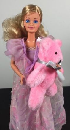 Vintage-1984-Dreamtime-Barbie-Doll-9180-with-teddy-bear-and-Accessories