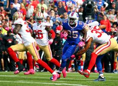 49ers vs. Bills:     October 16, 2016  -  45-16, Bills  -    Buffalo Bills running back LeSean McCoy (25) gets past San Francisco 49ers free safety Eric Reid (35) during the first half of an NFL football game on Sunday, Oct. 16, 2016, in Orchard Park, N.Y.