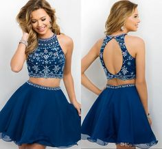 2016 New Arrival Dark Navy Two Pieces Homecoming Dresses Cheap Short Sweet 16 Dress Jewel Crystal Beading Beaded Sexy Backless Prom Party Short Black Homecoming Dresses Short Homecoming Dress From Molly_bridal, $85.9| Dhgate.Com