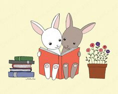 Printable Wall Decor Download Art Print Bunny Reading Books by mikaart https://www.etsy.com/listing/266399943/printable-wall-decor-download-art-print?ref=shop_home_active_1