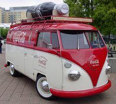 Volkswagen Van for Coca-Cola, vintage red and white, the real thing Volkswagen Transporter, T3 Vw, Volkswagon Van, Volkswagen Bus, Vw Camper, Carros Vw, Combi T1, Combi Split, Vw Classic
