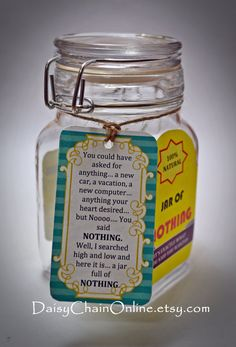 Best Gag Gift A Jar of Nothing Funny Gift by DaisyChainOnline