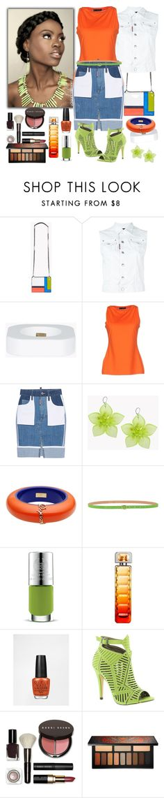 """""""Orange, Lime & Denim  DSquared2"""" by denibrad ❤ liked on Polyvore featuring Dsquared2, The Body Shop, HUGO, OPI, Michael Antonio, Bobbi Brown Cosmetics and Kat Von D"""