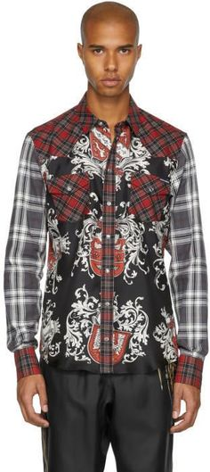 Dolce & Gabbana Red and Black Check Western Shirt