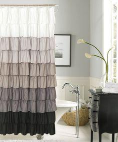 Silver & Black Flamenco Ruffle Shower Curtain #zulilyfinds