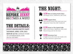 printable bachelorette party itinerary -- lucky in love collection, Party invitations