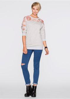 Bluza z koronkową wstawką Wygodna bluza • 109.99 zł • bonprix