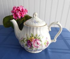 Teapot England Bone China Floral Molded Swirl Tea Pot Vintage 1960s Royal Park