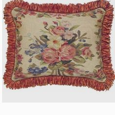 Aubusson Red Floral Pillow Malmaison-French, wool,flowers,velvet, down,m