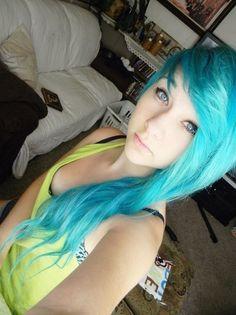 cute bright blue hair