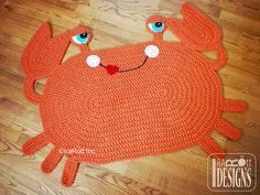 Inspiration.  Handmade Crochet Crab Rug Ready to Ship by IraRott on Etsy