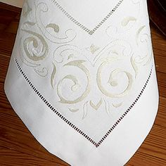 To the manor born, finest linen woven in Italy, is sensitively hand-embroidered with the exquisite subtlety of a White or Ecru scroll motif on. Rose Flower Wallpaper, Blue Comforter, Linen Placemats, Crochet Tablecloth, Embroidery For Beginners, Fine Linens, Cutwork, Table Linens, Machine Embroidery Designs