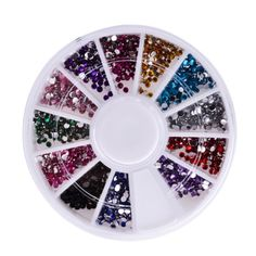 Multicolor 3D Nail Art Acrylic Round Glitter Rhinestones Plate Fingernail Tips Gem Sticker Decal Decoration Wheel 12 Colors