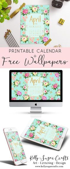 Free April 2018 Calendar Wallpapers + Printable| desktop, phone, tablet wallpaper| by Kelly Sugar Crafts. Floral watercolor, mint and gold wallpaper calendar #freeprintable #desktopwallpaper #phonewallpaper #printablecalendar #background #printable #calendar #wallpapers