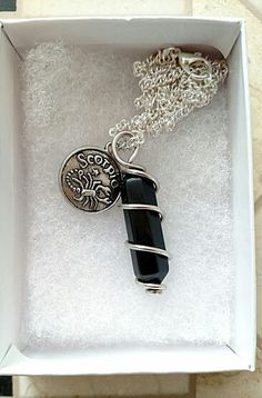 Handmade Black Onyx crystal point wire wrapped chain necklace in small gift box.