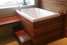I need this tub when we redo the bathroom. Nirvana deep soaking bath tub - Cabuchon Bathforms soaking tubs with steps Deep Bathtub, Deep Tub, Deep Soaking Tub, Japanese Bathtub, Japanese Soaking Tubs, Nirvana, Space Saving Baths, Wooden Bathtub, Outdoor Tub
