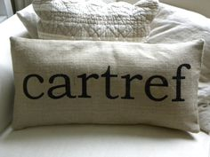 Burlap pillow cover Welsh cartref home hessian cushion cover