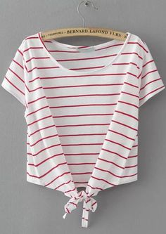 860bc7b6da7f10 Shop Striped Knotted Wine Red T-shirt online. ROMWE offers Striped Knotted  Wine Red T-shirt   more to fit your fashionable needs.