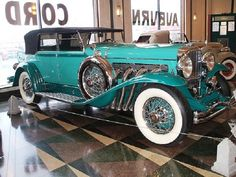 1934 Duesenberg, Turquoise and Jade Green, at Auburn-Cord-Duesenberg Museum in Auburn, Indiana.