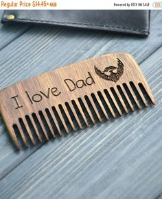 ON SALE I love Dad wooden comb Father Day Walnut Beard Mustache comb Wood Gift idea for Him Husband Boyfriend