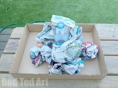 How to make a papier mache volcano for science fair - step 2