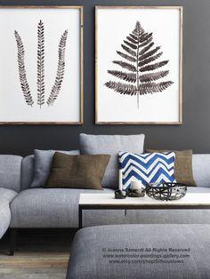 Fern Illustration, Set of 2 Ferns Drawing, Abstract Leaves Art Print, Brown Botanical Artwork Women Gift Idea, Floral Garden Beige Decor