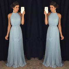 A352 halter gorgeous sleeveless long floor-length evening dress,high neck long prom gowns,light blue evening gowns