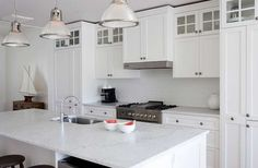 white kitchen, marble benchtop with black handles - Google Search
