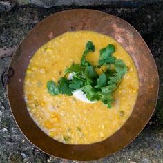 Sweetcorn soup with chipotle and lime