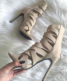 stiletto heels high cut beige black suede sandals patchwork stretch cross strappy gladiator sandals elastic fabric dress shoes-in Women& Sa… Stilettos, Stiletto Heels, High Heels, Nude Heels, Sexy Heels, Strappy Heels, Zapatos Shoes, Shoes Heels, Dress Shoes