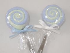 2 Blue and Green Washcloth Lollipops Baby Boy by babydelights1, $8.99