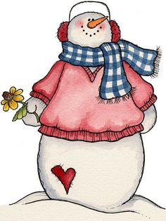 snowman with pink sweater and a flower!