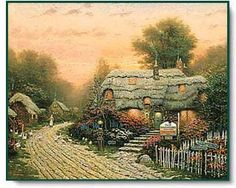 Thomas Kinkade Olde Porterfield Tea Room 1000 Piece Puzzle:Just like tea, the warm artwork of Thomas Kinkade comforts and inspires those who drink it in. Let the Painter of Light warm your evening with this puzzle featuring the Olde Porterfield Tea Room. Thomas Kinkade Art, Kinkade Paintings, Thomas Kincaid, Art Thomas, Cottage Art, Beautiful Paintings, Pretty Pictures, Amazing Art, Epic Art