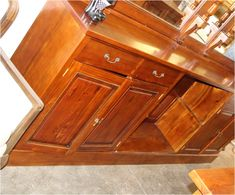 Mahogany Home Bar Pub Shop or Store Counter 10 Ft Long Hand Crafted - The Kings Bay Beveled Edge Mirror, Antique Bar, Store Counter, Home Bar Furniture, Raised Panel Doors, Back Bar, Venetian Mirrors, Storage Rack, Coffee Shop