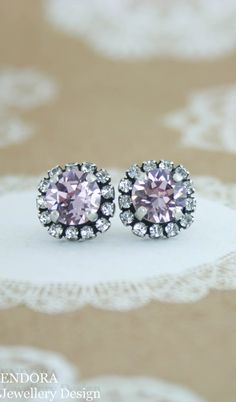 Crystal stud earrings | lavender wedding | light purple earrings | purple wedding | bridesmaid earrings | antique silver lavender earrings | www.endorajewellery.etsy.com