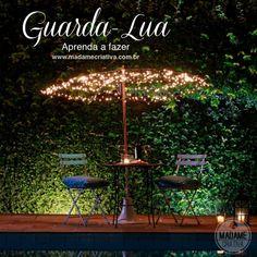 """Como fazer guarda- lua com pisca - pisca - Passo a passo com fotos - How to make a """"moon parasol"""" with lamps- DIY tutorial  - Madame Criativa - www.madamecriativa.com.br"""