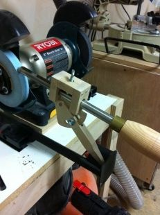 Gouge Sharpening Jig - Homemade gouge sharpening jig constructed from wood and modeled after the Oneway Wolverine unit.
