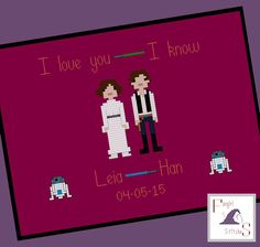 Star Wars themed Wedding Sampler Cross Stitch Pattern - Leia and Han - PDF Pattern by FangirlStitches on Etsy https://www.etsy.com/listing/237379188/star-wars-themed-wedding-sampler-cross
