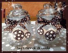 Zuccheriera ermetica in vetro decorata con biscotti pandistelle realizzati in fimo...by I ninnoli di Linda