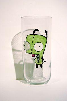 Invader Zim Gir (Puppy) glow in dark drink glass on Etsy, $12.50 i want it i want it i want it plz i want this for my birthday plz