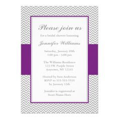 Purple and Gray Chevron Bridal Shower Card
