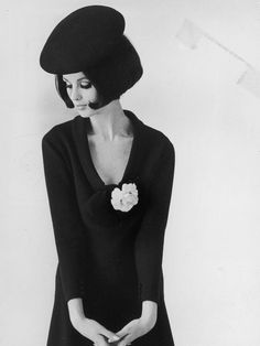 Pierre Cardin, 1964. © Getty Images. Classic beret and bob.