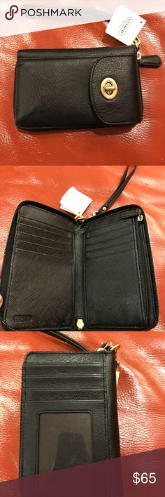 Coach wristlet wallet and credit card holder Coach wristlet wallet and credit card holder. Genuine leather. Brand new with tags attached. Reasonable offers are welcome. Coach Bags Wallets