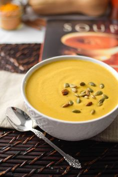 This smooth and creamy, vegan & gluten-free Turmeric & Coconut Roasted Butternut Squash Bisque is an antioxidant packed, anti-inflammatory super bowl the whole family will love.