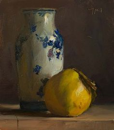 daily painting titled Quince and delft vase Still Life Images, Still Life Art, Art Watercolor, Still Life Oil Painting, Fruit Painting, Vase, Fruit Art, Paintings I Love, Art Graphique