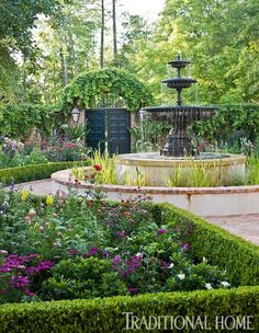 "Gorgeous Southern Garden… With its imposing fountain and vine-covered brick walls, this space oozes a lazily sensuous French Quarter vibe -- despite its Houston location. ""Inside the walls, it's both structured and lush … creating what I call 'ordered chaos,'"" says landscape architect Helen Grivich. ""I like a little whimsy in the middle; I think a garden should make you smile."" (I would definitely smile, provided I had a wonderful gardner to take care of all this loveliness!)"