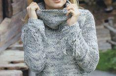 Ecco le istruzioni per realizzare ai ferri un bel maglione caldo in lana melange per far fronte al freddo invernale!
