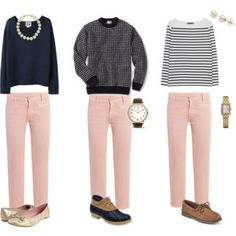 Summer Wind: Pretty Perfect Pale Pink Pants Styled three ways. Shoes need help, but top combos are great. Pink Jeans Outfit, Pink Outfits, Fall Outfits, Casual Outfits, Pants Outfit, Pantalon Rose Pale, Rosa Jeans, Jean Rose, Fashion Clothes