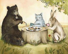 Tea Party, children, cat, bear, rabbit art, decor by amberalexander on Etsy https://www.etsy.com/listing/54102687/tea-party-children-cat-bear-rabbit-art