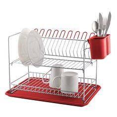 Escurridor de platos 2 niveles de acero cromado con bandeja plástica.